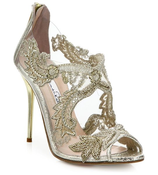 OSCAR DE LA RENTA ambria embroidered metallic peep toe sandals in gold - Romantic sandal with beaded-embroidered appliques....