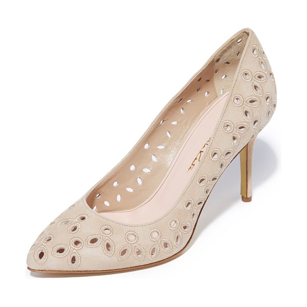 Oscar de la Renta anna heels in nude - Eyelet embroidery adds a charming touch to these suede...