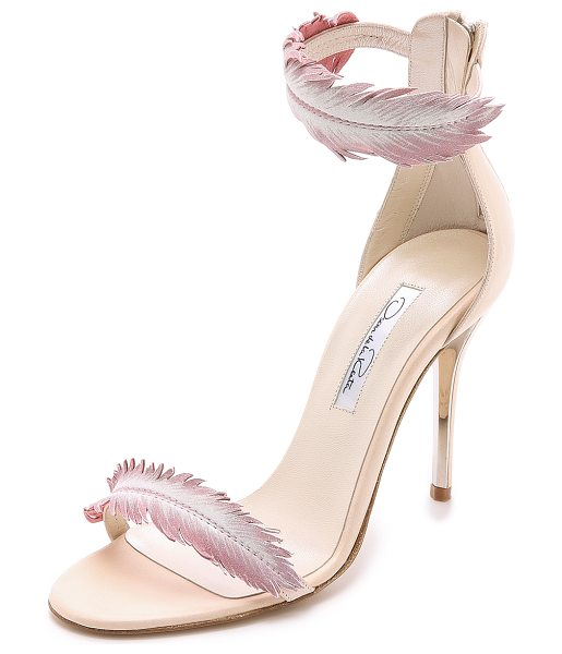 Oscar de la Renta Aubree heeled sandals in petal - A light wash of color accents the delicate leather...