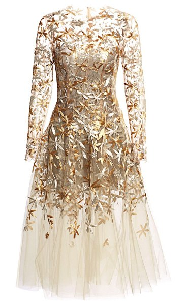 Oscar de la Renta embellished illusion tulle cocktail dress in beige