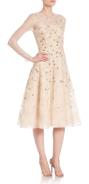 Oscar de la Renta embellished lace cocktail dress in champagne - Floral lace dress elevated by lavish metallic...