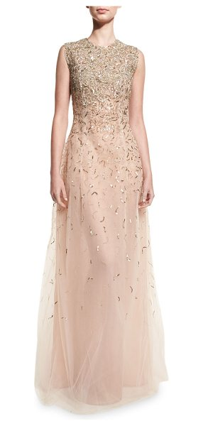 Oscar de la Renta Embellished Sleeveless A-Line Gown in gold - Oscar de la Renta beaded and sequined tulle gown. Jewel...