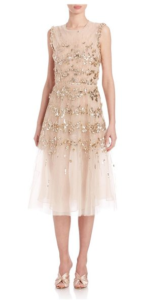 Oscar de la Renta embellished tulle cocktail dress in gold - Elegantly-styled dress with striking embellishments....