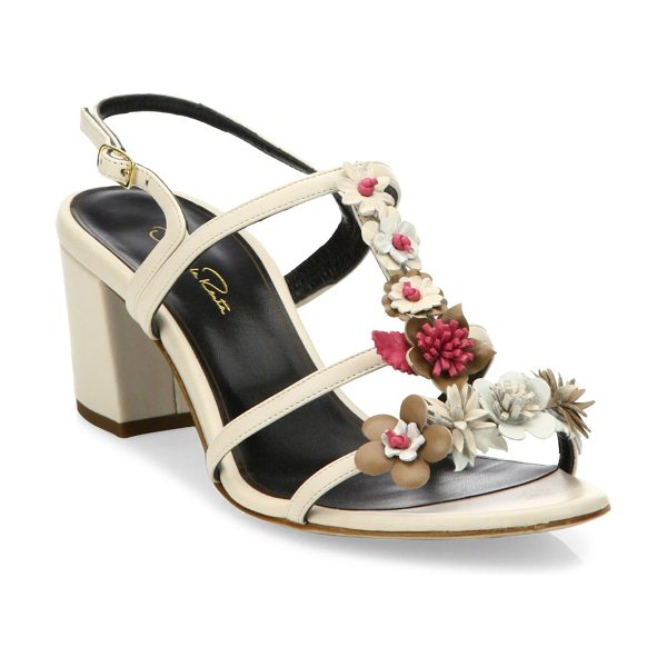Oscar de la Renta flower embellished lambskin leather sandals in nude - From the Saks It List: Garden Party Florals. Vibrant...