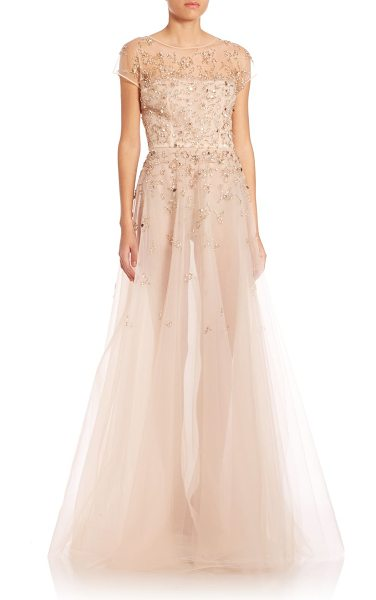 Oscar de la Renta Gold-embellished tulle overlay short sleeve silk gown in champagne - Silk gown beautified by hand-embellished sequins. Boat...