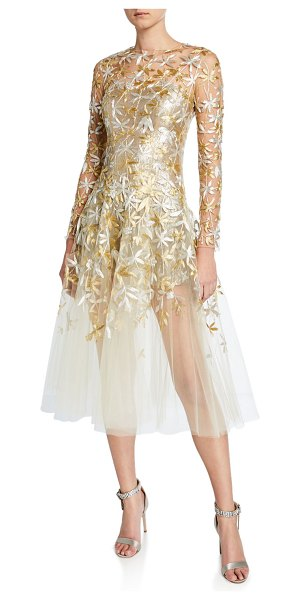 Oscar de la Renta Golden-Leaf Cocktail Dress in beige