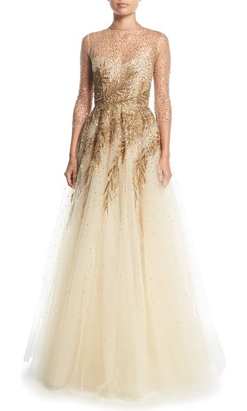Oscar De La Renta High Neck Illusion Tulle Evening Gown W Sequin