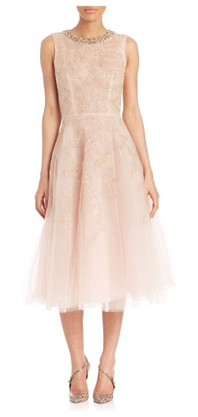 Oscar de la Renta jeweled neck silk cocktail dress in champagne
