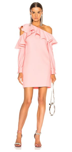 Oscar de la Renta One Shoulder Ruffle Trim Mini Dress in pink - Self: 100% cotton - Lining: 100% silk.  Made in Italy. ...