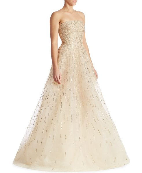 Oscar de la Renta sequin embellished gown in champagne - Radiant sequins enhance this gorgeous strapless design....