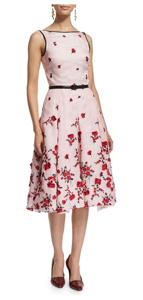 Oscar de la Renta Sleeveless Carnation-Embroidered Cocktail Dress in rose - Oscar de la Renta cocktail dress with carnation...
