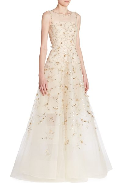 Oscar de la Renta sleeveless illusion gown in champagne - Elegant illusion gown with shimmering leaf embroidery....