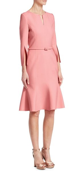 Oscar de la Renta slit-sleeve belted flounce dress in bloom - This sleek dress is crafted with a belted waist to...