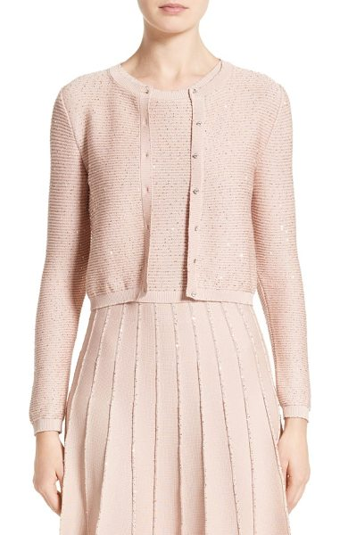 Oscar de la Renta sparkle knit crop cardigan in rose gold - Tiny metallic sequins gild a softly ribbed cardigan knit...