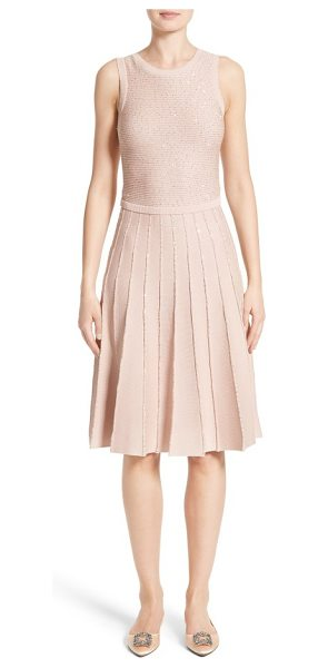 Oscar de la Renta sparkle knit pleated dress in rose gold - Tiny metallic sequins gild the softly ribbed bodice and...