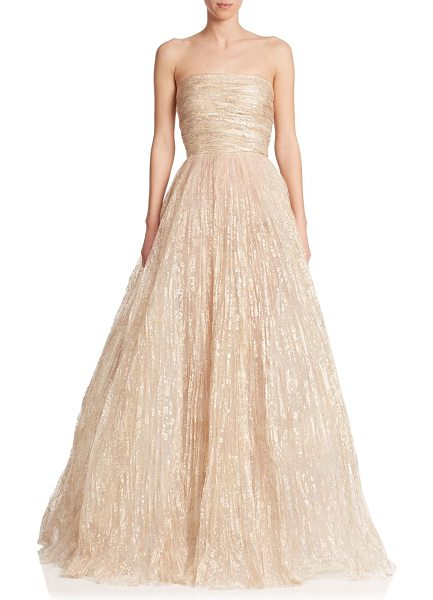 Oscar de la Renta Strapless foil tulle gown in champagne - Painterly foil embellishment adds a hint of shimmer to...