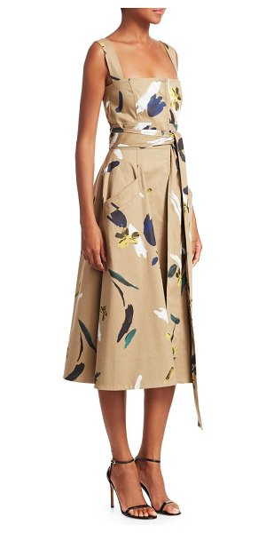Oscar de la Renta utilitarian floral full skirt dress in khaki multi - This khaki dress is splashed with artful florals for a...