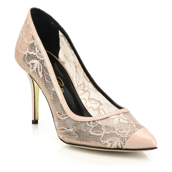 OSCAR DE LA RENTA willow lace cap-toe pumps - Romantic floral-lace pump with patent leather cap toe....