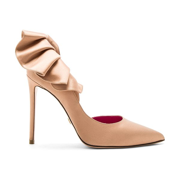 Oscar Tiye Adele Heel in nude - Satin textile upper with leather and man made sole....