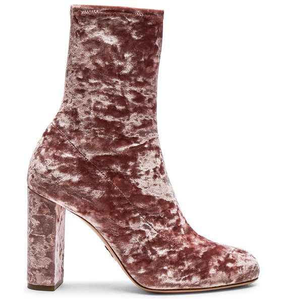 Oscar Tiye Velvet Giorgia Boots in pink - Stretch velvet upper with leather sole.  Made in Italy. ...