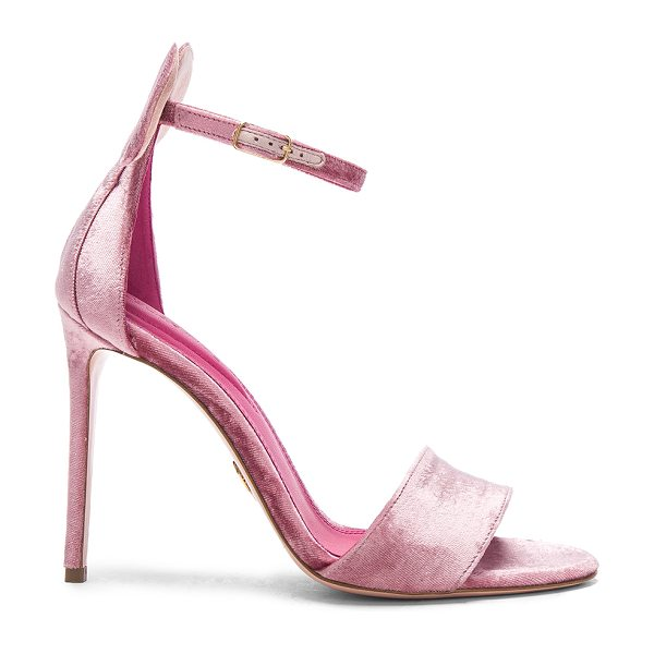 "Oscar Tiye Velvet Minnie Sandals in pink - ""Velvet upper with leather sole.  Made in Italy.  Approx..."