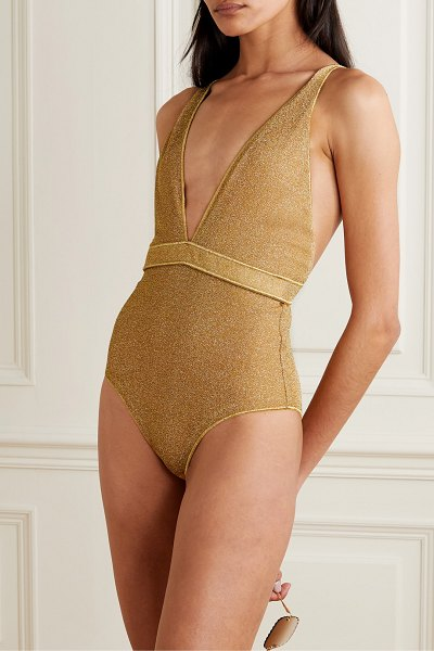 Oséree lumière stretch-lurex swimsuit in gold