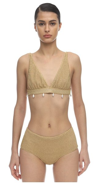 OSÉREE SWIMWEAR 70s pearls lurex & lycra bikini in gold