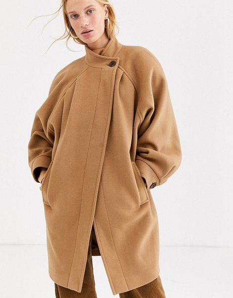 Other Stories &  capsule ovoid button detail pea coat in camel-brown in brown