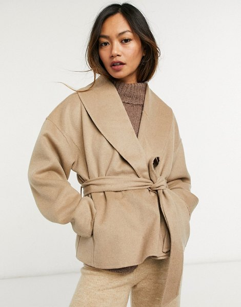 Other Stories &  recycled wool cropped tie waist jacket in camel-neutral in neutral