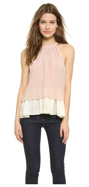 OTTE NEW YORK Double layer halter blouse in blush - A swingy OTTE NEW YORK blouse made from two layers of...