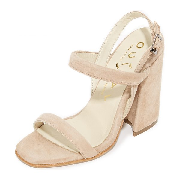 OUIGAL janet sandals in beige - Suede Ouigal mules styled with slim, padded straps....