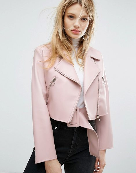 "Outstanding Ordinary faux leather jacket with belt detail in pink - """"Leather jacket by Outstanding Ordinary, Faux-leather,..."