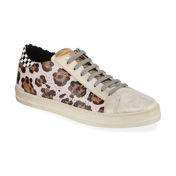 P448 John Mixed-Print Leather Sneakers in wild pink - P448 low-top sneaker in leopard-print patent and...