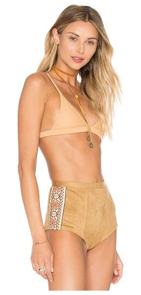 Pacific & Driftwood Jam Top in tan - 90% nylon 10% spandex. Hand wash cold. Adjustable...