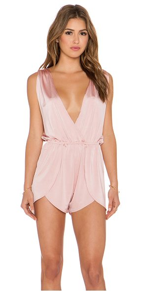 Pacific & Driftwood Pfeiffer romper in pink - 90% nylon 10% spandex. Hand wash cold. Elasticized...