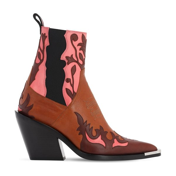 Paco Rabanne 85mm leather ankle boots in tan,pink