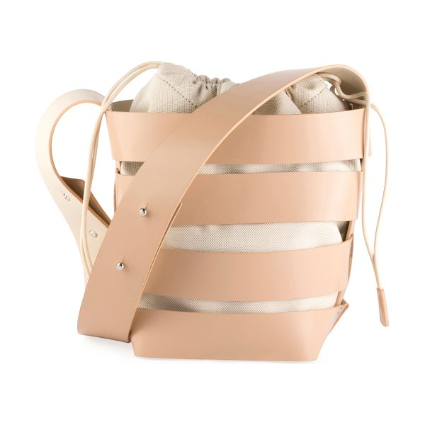 Paco Rabanne Cage Small Mixed Hobo Bag in tan - Paco Rabanne cage-strapped small hobo bag in smooth...