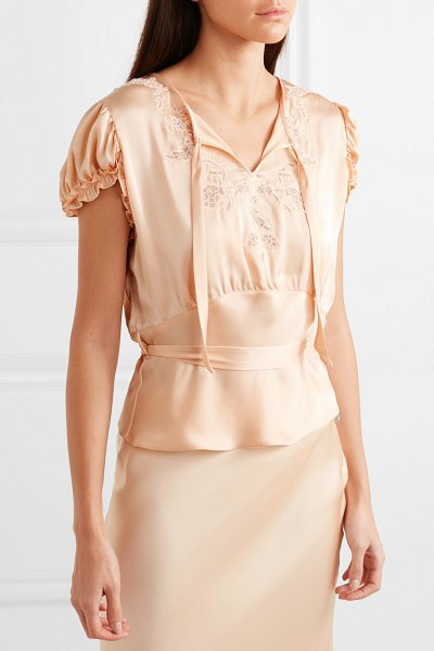 Paco Rabanne lace-trimmed satin blouse in peach
