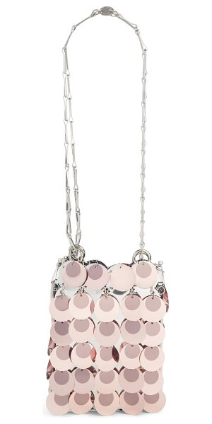 Paco Rabanne mini sparkle 1969 iconic crossbody bag in pink - Mirror-finish paillettes and a slender chain strap bring...