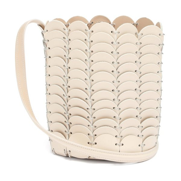 Paco Rabanne pacoio leather bucket bag in beige