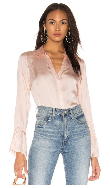 PAIGE Abriana Shirt in pink - 100% poly. Exposed front button closure with keyhole...