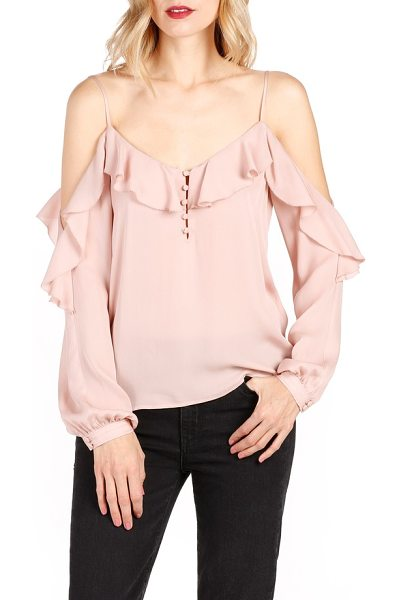 PAIGE arabeth cold shoulder silk blouse in misty rose - Show off a little shoulder in this romantic silk top...