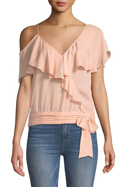"""PAIGE Chereen Ruffle One-Shoulder Silk Top in peach - PAIGE """"Chereen"""" silk top featuring ruffle trim. V..."""