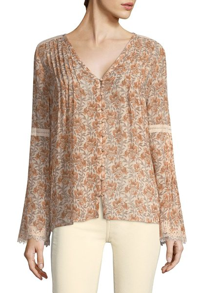 PAIGE clio floral silk blouse in desert sunrise floral - Relaxed v-neck blouse in muted floral print.V-neck. Long...