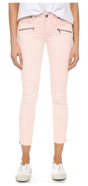 PAIGE Jane zip crop pants in true blush - Exposed zips lend a moto inspired look to these soft...