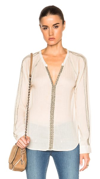 PAIGE Marissa top in neutrals - 100% cotton.  Made in India.  Hidden hook and eye front...