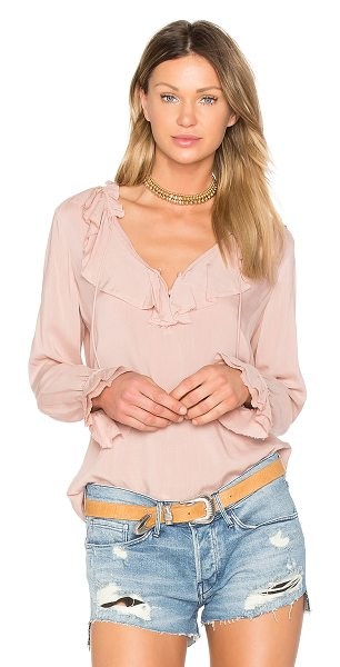 PAIGE Fauna Blouse in pink - 100% rayon. Dry clean only. Neckline tie closure. Ruffle...