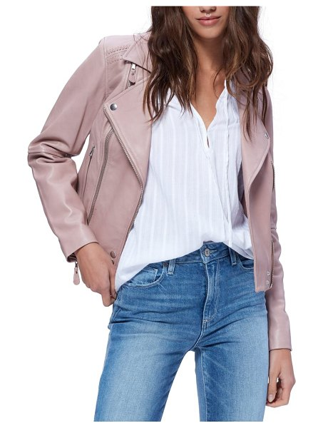 PAIGE fontana leather moto jacket in pink