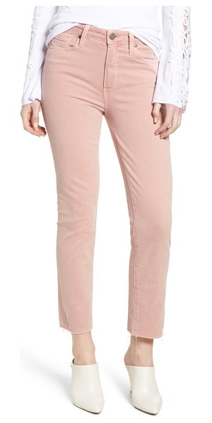 PAIGE hoxton high waist straight ankle raw hem jeans in faded pale pink - A high rise adds flattering shape to these straight-leg...