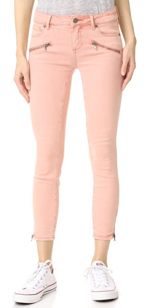 PAIGE jane zip crop jeans in faded petal pink - Exposed zips at the ankle slits and faux front pockets...